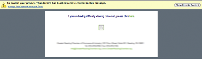This is an example of the type of email I'm describing.