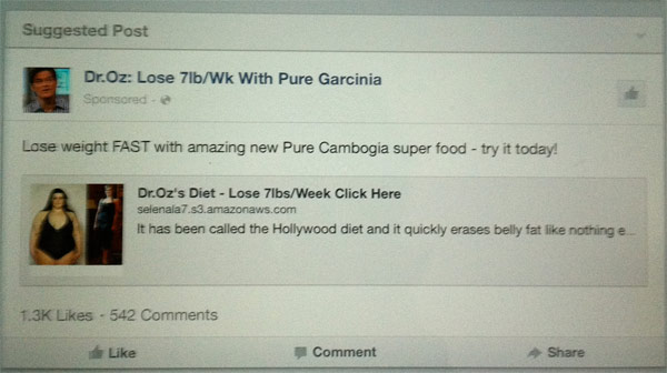 """Facebook """"Suggested Post"""" recenty in my newsfeed from Dr. Oz."""