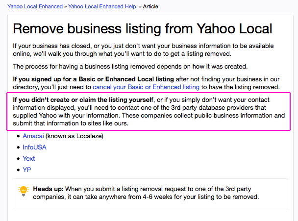 Yahoo Listing Removal Screen