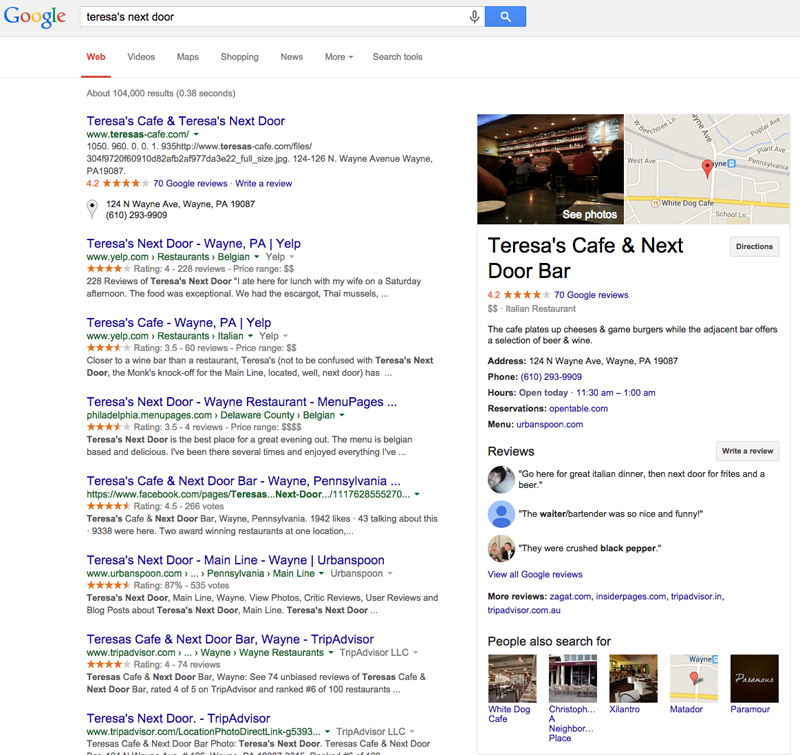 Google results restaurant search