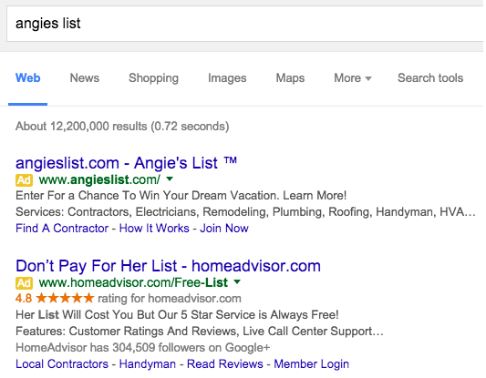 Angie's List PPC Ads