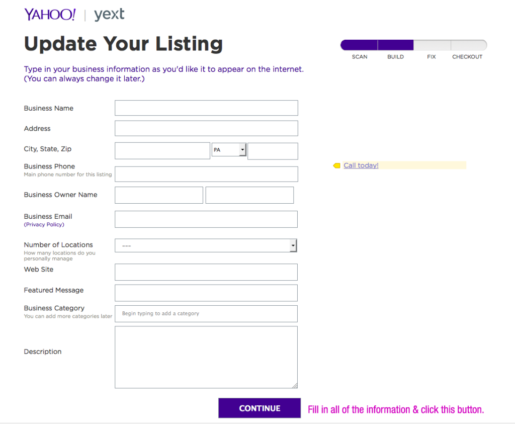 Free Yahoo Local Listing Step 3