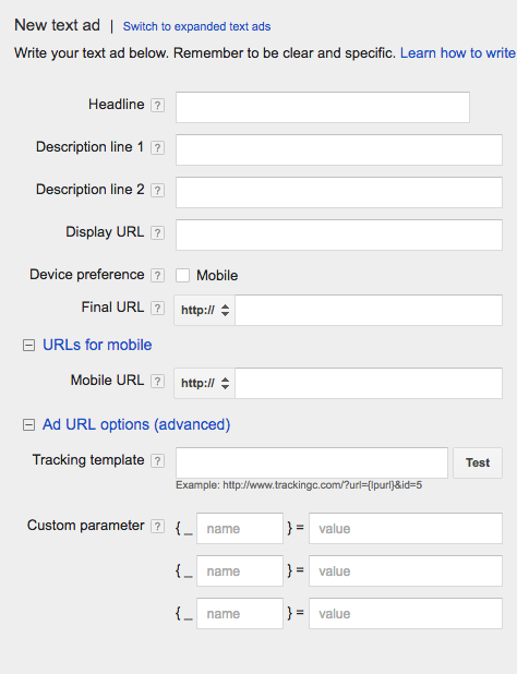 AdWords Classic Ad Creation Fields In UI