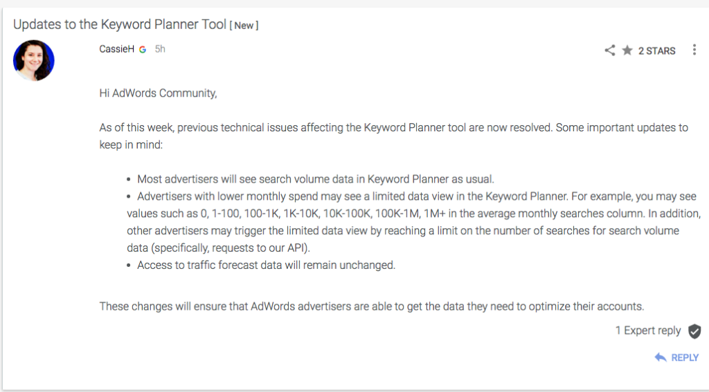 AdWords Keyword Planner Tool Announcement