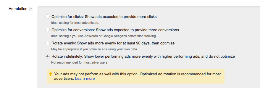 Ad Rotation Optimization Options AdWords