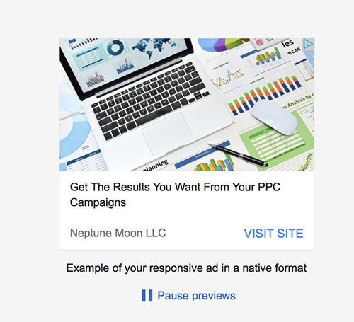 AdWords responsive ad native ad format preview