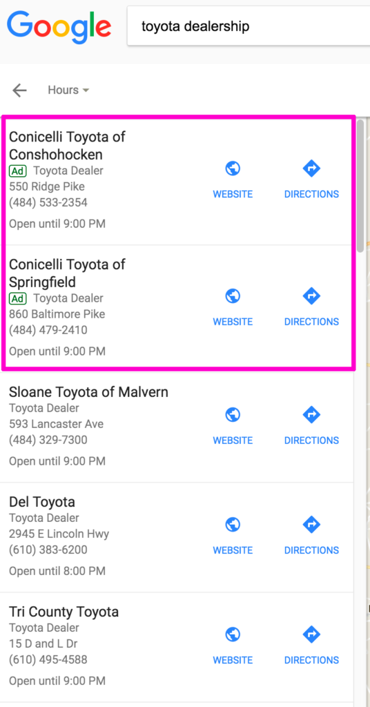 Google Maps Listings With Ads At Top