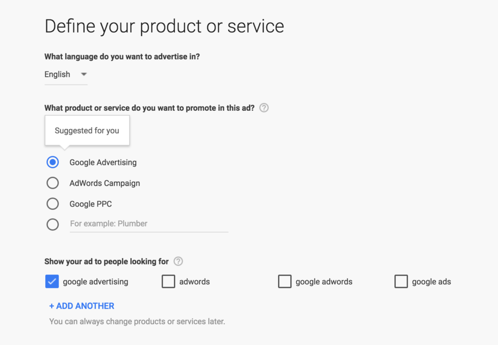 AdWords Express Suggestions for Neptune Moon