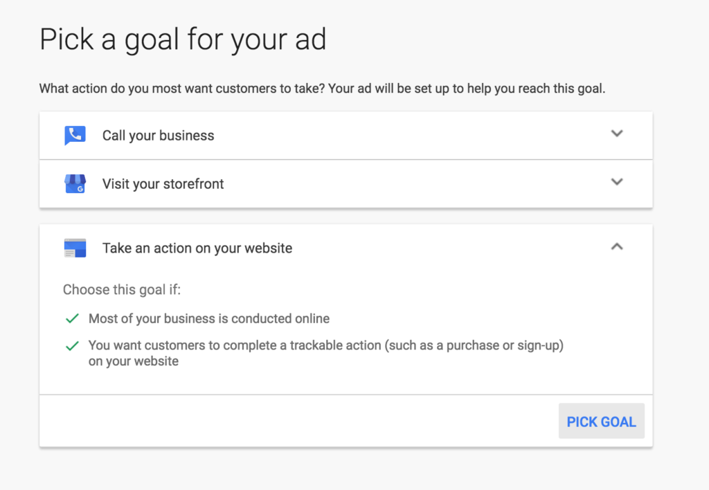 AdWords Express On Web Site Goal Details